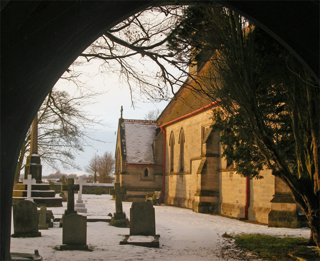 Church through archway